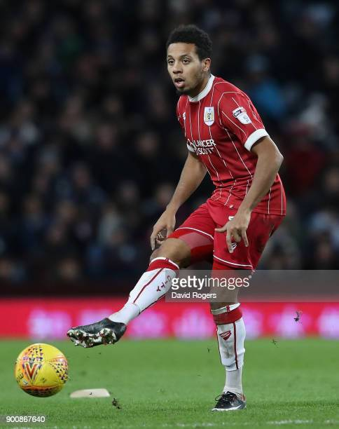 Korey Smith of Bristol City pases the ball during the Sky Bet Championship match between Aston Villa and Bristol City at Villa Park on January 1 2018...