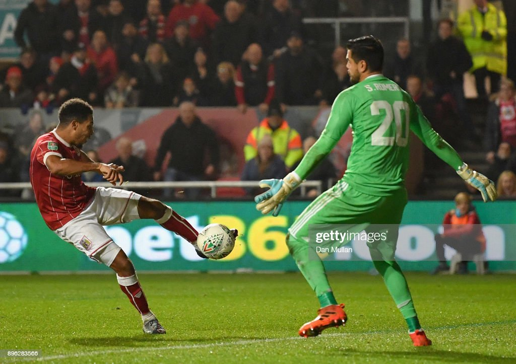 Korey Smith of Bristol City scores his sides second goal past Sergio Romero of Manchester United during the Carabao Cup Quarter-Final match between Bristol City and Manchester United at Ashton Gate on December 20, 2017 in Bristol, England.