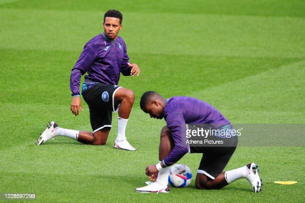 Korey Smith of Swansea City during the prematch warmup for the Sky Bet Championship match between Swansea City and Birmingham City at the Liberty...