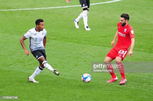 Korey Smith of Swansea City in action during the Sky Bet Championship match between Swansea City and Birmingham City at the Liberty Stadium on...