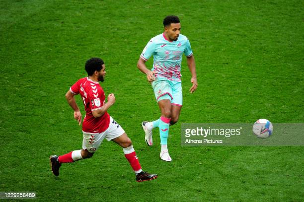 Korey Smith of Swansea City in action during the Sky Bet Championship match between Bristol City and Swansea City at Ashton Gate on October 24 2020...