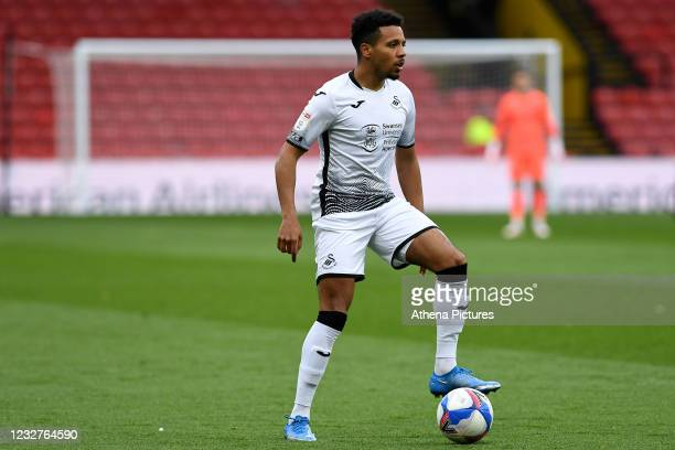 Korey Smith of Swansea City in action during the Sky Bet Championship match between Watford and Swansea City at Vicarage Road on May 08, 2021 in...