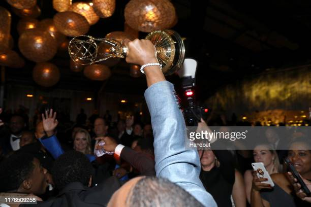 Korey Wise, holding Emmy Award, attends the 2019 Netflix Primetime Emmy Awards After Party at Milk Studios on September 22, 2019 in Los Angeles,...