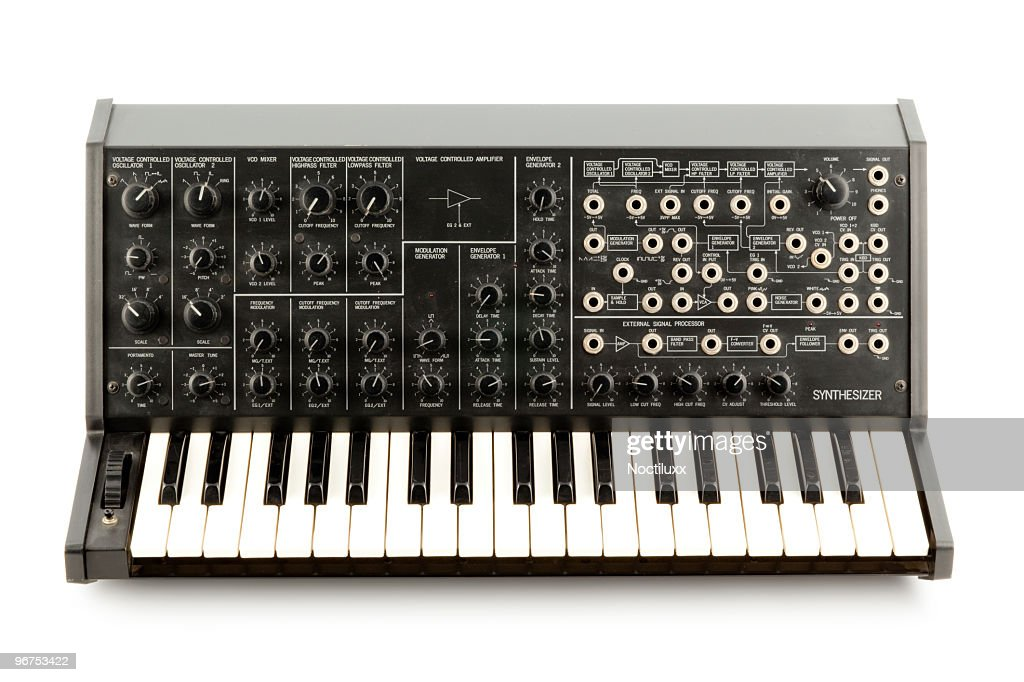 A Korg MS20 retro analog synthesizer on a blank background : Stock Photo