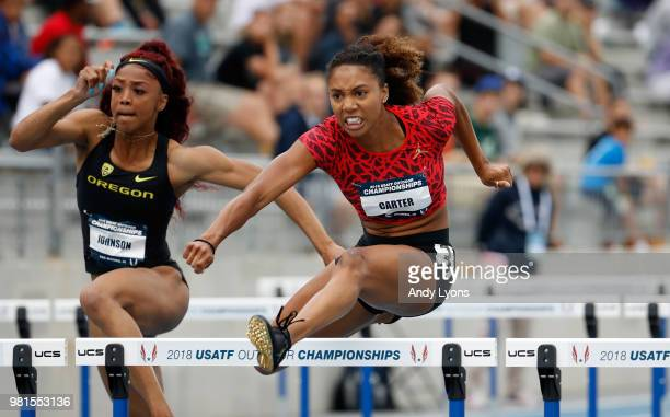 Kori Carter clears a hurdle in the Womens 100 Meter Hurdles during day 2 of the 2018 USATF Outdoor Championships at Drake Stadium on June 22 2018 in...