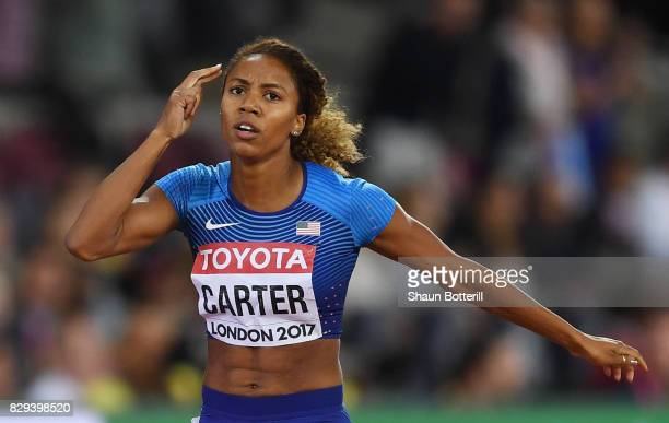 Kori Carter of the United States celebrates after winning the womens 400 metres hurdles final during day seven of the 16th IAAF World Athletics...