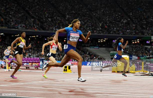 Kori Carter of the United States competes in the womens 400 metres hurdles final during day seven of the 16th IAAF World Athletics Championships...