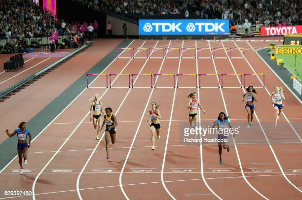 Kori Carter of the United States crosses the line to win the womens 400 metres hurdles final during day seven of the 16th IAAF World Athletics...