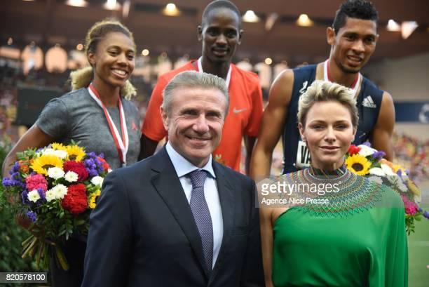Kori Carter of USA Elijah Manangoi of Kenya Wayde van Niekerk of South Africa Serguei Bubka and Princess Charlene during the IAAF Diamond League...