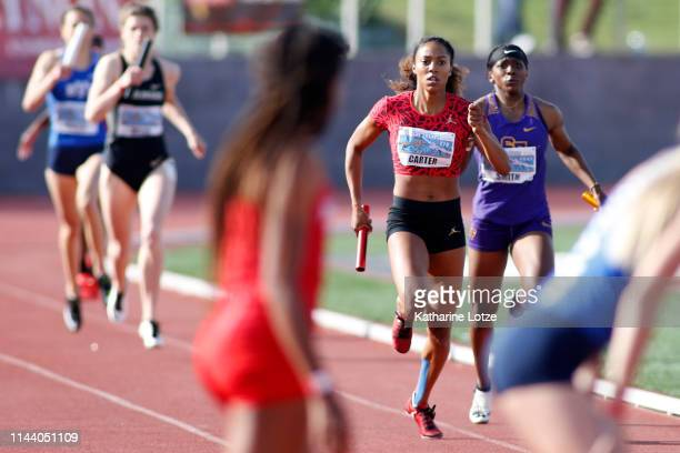 Kori Carter sprints toward the finish of her leg of the women's 1600 meter relay on the second day of the 61st Mt SAC Relays at Murdock Stadium at El...