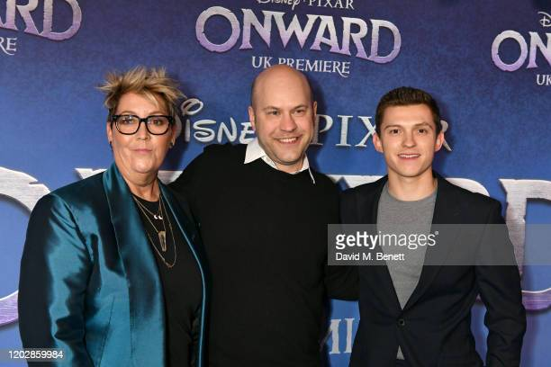 Kori Rae Dan Scanlon and Tom Holland attend attends the UK Premiere of Onward at The Curzon Mayfair on February 23 2020 in London England