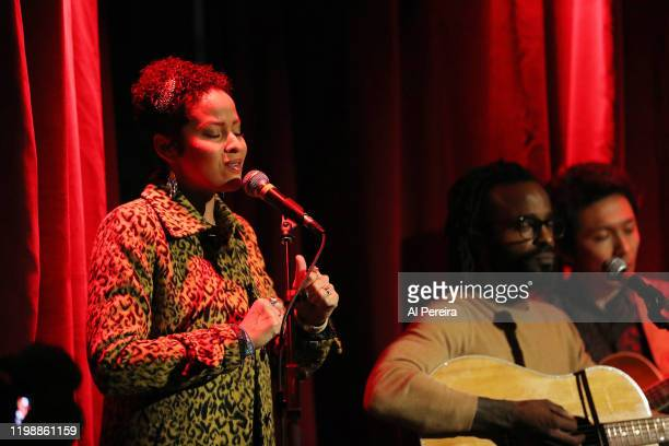 Kori Withers and Musician John Forte perform as part of the the Voices On The Hudson series at City Vineyard on January 10 2020 in New York City