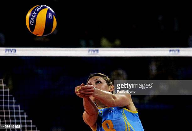 Korinna Ishimskaya of Kazakhstan in action during the FIVB Women's World Championship pool F match between Bulgaria and Kazakhstan on October 4 2014...