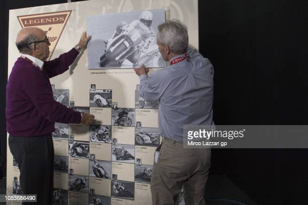 Kork Ballington of South Africa and Carmelo Ezpeleta of Spain and Dorna CEO pose during the MotoGP's Hall of Fame ceremony as a MotoGP Legend during...