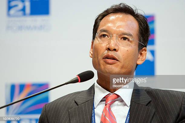 Korn Chatikavanij, Thailand's finance minister, speaks at a conference hosted by South Korea's government and the International Monetary Fund in...