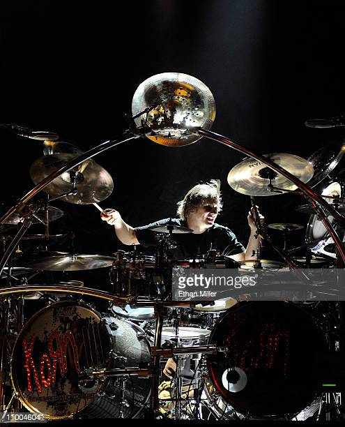 Korn drummer Ray Luzier performs during the Music as a Weapon 5 tour at The Joint inside the Hard Rock Hotel Casino March 12 2011 in Las Vegas Nevada...
