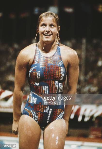 Kornelia Ender of East Germany after the Women's 100 metres Butterfly on 22nd July 1976 during the XXI Olympic Summer Games at the Olympic Pool...