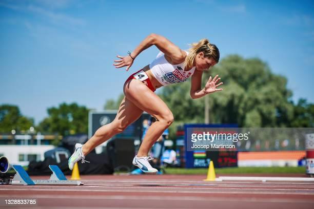 Kornelia Lesiewicz of Poland competes in the Women's 400m Round 1 heats during European Athletics U20 Championships Day 1 at Kadriorg Stadium on July...