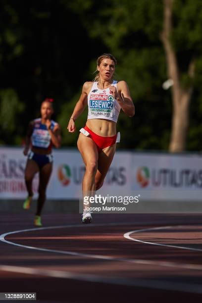 Kornelia Lesiewicz of Poland competes in the Women's 400m semi final during European Athletics U20 Championships Day 1 at Kadriorg Stadium on July...
