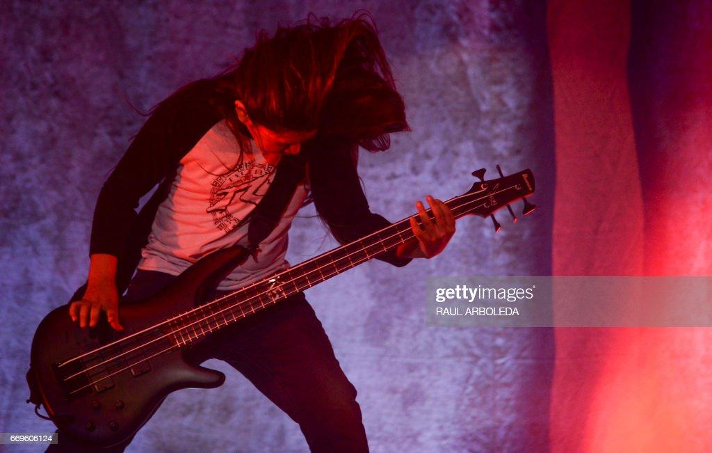 Korn's band 12-year-old Tye Trujillo, son of Metallica's bassist Robert Trujillo performs in Bogota on April 17, 2017, /
