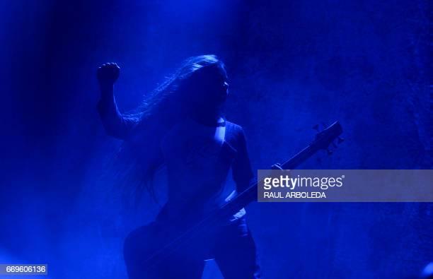 Korn's band 12yearold Tye Trujillo son of Metallica's bassist Robert Trujillo performs in Bogota on April 17 / AFP PHOTO / RAUL ARBOLEDA