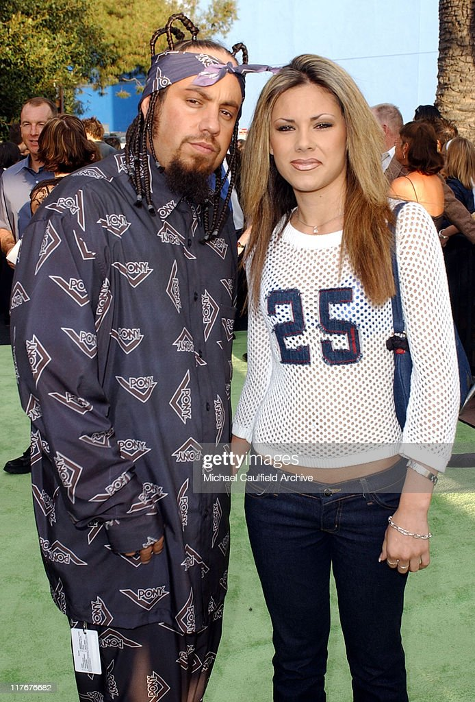 Korn's bassist Fieldy and Dina during ESPN Action Sports and Music Awards - Arrivals at The Universal Amphitheater in Universal City, California, United States.