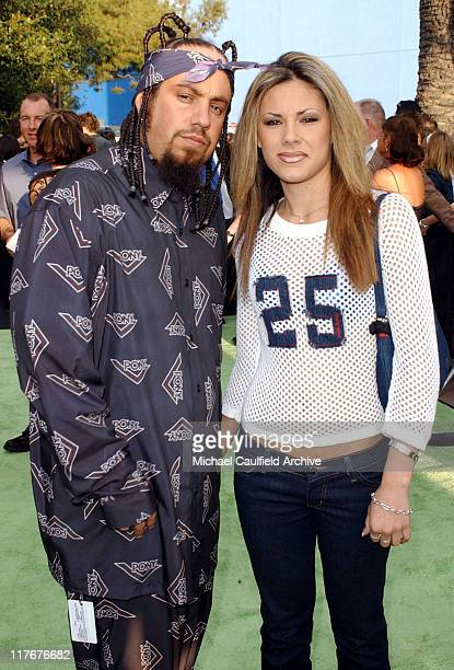 Korn's bassist Fieldy and Dina during ESPN Action Sports and Music Awards Arrivals at The Universal Amphitheater in Universal City California United...