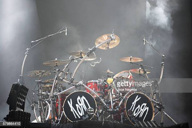 Korn's drumset on stage at Irvine Meadows Amphitheatre on July 24 2016 in Irvine California