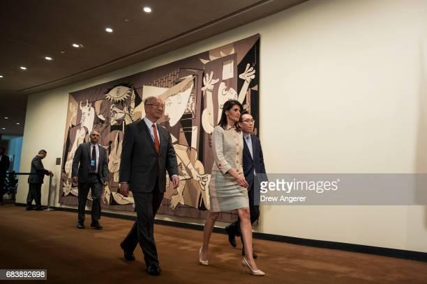 Koro Bessho, Japanese ambassador to the United Nations, Nikki Haley, U.S. Ambassador to the United Nations, and Cho Tae-yul, South Korean Ambassador...