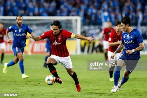 Koroki Shinzo of Urawa Red Diamonds competes for the ball during 2019 AFC Champions League Final 1st Leg between Al Hilal SFC and Urawa Red Diamonds...