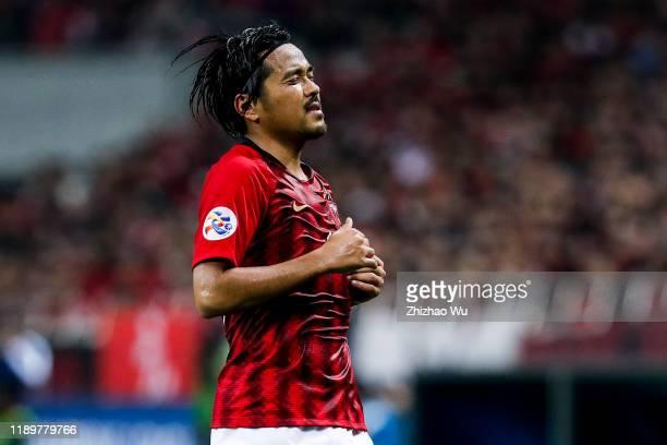Koroki Shinzo of Urawa Red Diamonds in action during the AFC Champions League Final second leg match between Urawa Red Diamonds and Al Hilal at...