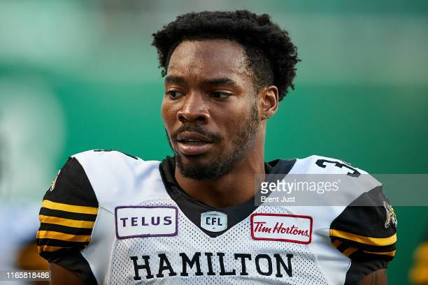 Koron Crump of the Hamilton Tiger-Cats on the sideline during the game between the Hamiton Tiger-Cats and Saskatchewan Roughriders at Mosaic Stadium...