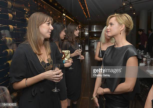 Korovilas' Maria Korovilas and actress Mena Suvari attend GenArt's 14th Annual Fresh Faces In Fashion Intimate Dinner at Andaz on October 15 2012 in...