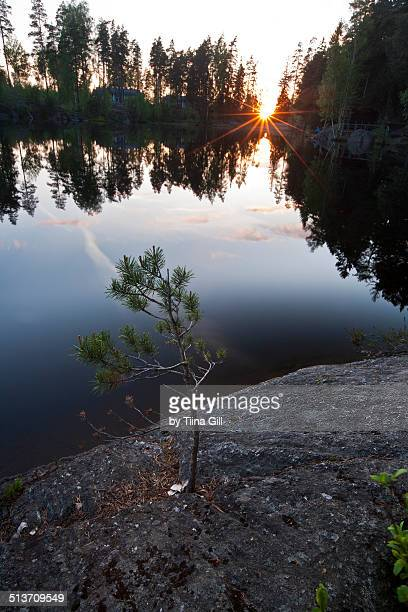 korpilampi lake at the sunset - espoo stock pictures, royalty-free photos & images