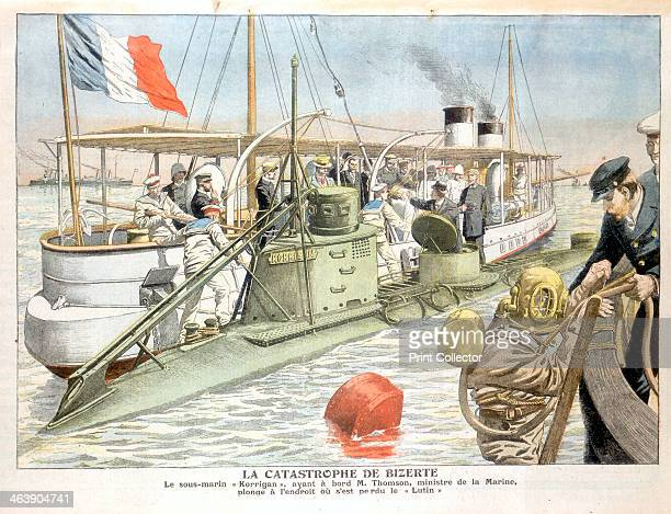 'Korrigan' French navy submarine 1906 Monsieur Thomson the French navy minister making a dive in the submarine 'Korrigan' at the location where her...