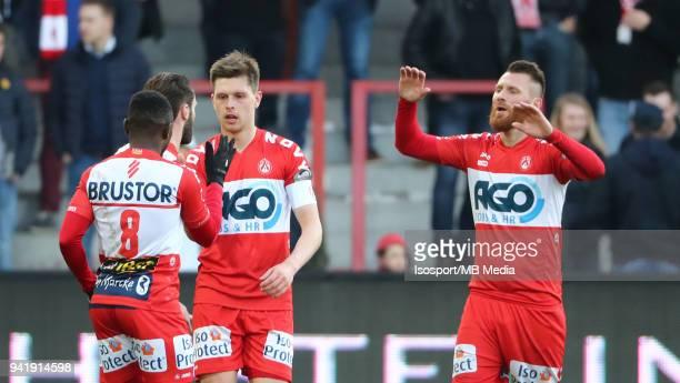 20180331 Kortrijk Belgium / Kv Kortrijk v WaaslandBeveren / nIdir OUALI Teddy CHEVALIER CelebrationnFootball Jupiler Pro League 2017 2018 PlayOff 2a...
