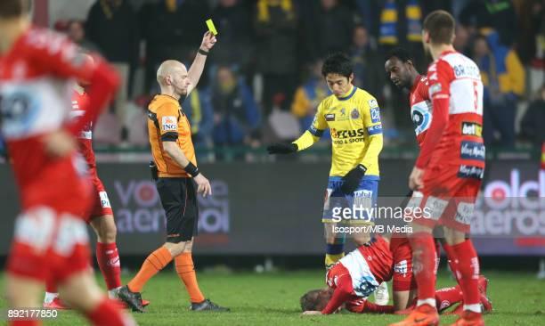 20171202 Kortrijk Belgium / Kv Kortrijk v WaaslandBeveren / 'nSebastien DELFERIERE Ryota MORIOKA Lucas ROUGEAUX Yellow Card'nFootball Jupiler Pro...