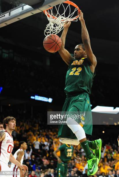 Kory Brown of the North Dakota State Bison dunks the ball against the Oklahoma Sooners during the second round of the 2014 NCAA Men's Basketball...