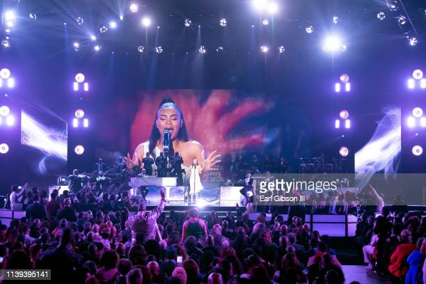 Koryn Hawthorne performs during the 34th annual Stellar Gospel Music Awards at the Orleans Arena on March 29 2019 in Las Vegas Nevada