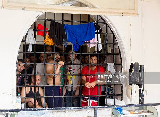 Kos, Dodecanese, Greece, June 15, 2015. -- Syrian refugee in the jail of Cos police station. They claim that they are not terrorist, and they just...