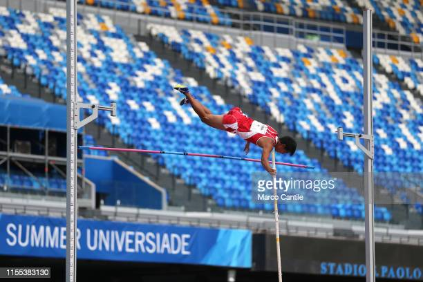 Kosei Takekawa of Japan during the final stages of athletics for the 2019 Universiade in the specialty of Pole Vault at San Paolo stadium in Naples