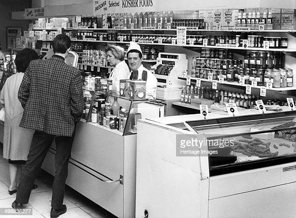 Kosher display at Selfridges London 1966 Customers at the counter of the kosher section in the food hall of the famous department store