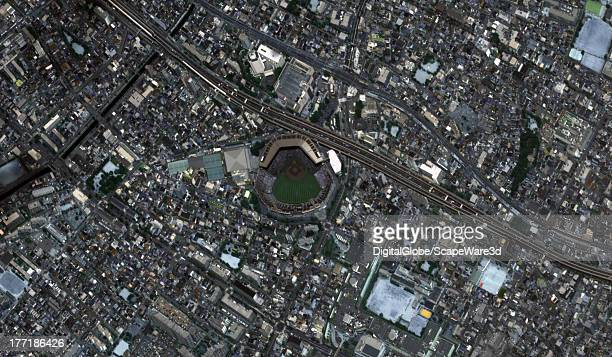 Koshien Baseball Stadium captured by a DigitalGlobe via Getty Images Satellite approximately one hour before the finals for the High School Baseball...