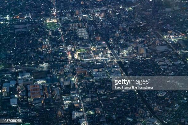 koshigaya city in saitama prefecture of japan aerial view from airplane - taro hama ストックフォトと画像