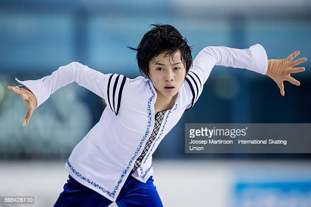 Koshiro Shimada of Japan competes during ISU Junior Grand Prix of Figure Skating junior men free skating on August 25 2016 in SaintGervaislesBains...