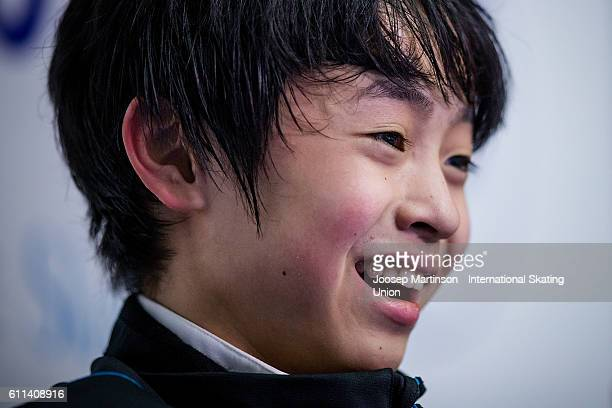 Koshiro Shimada of Japan reacts at kiss and cry after the Junior Men Short Program on day one of the ISU Junior Grand Prix of Figure Skating on...