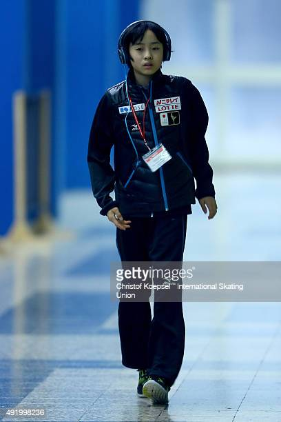 Koshiro Shimada of Japan warm up prior to the junior men free skating of the ISU Junior Grand Prix at Dom Sportova on October 9 2015 in Zagreb Croatia