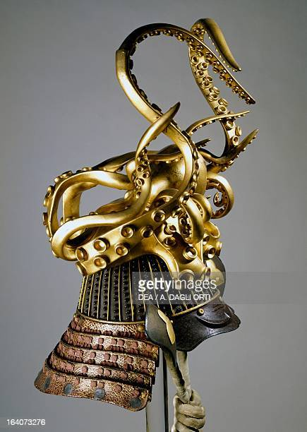 KoshotanNariZaboshi Bachi Kabuto helmet with elaborate decoration in gilded wood in the shape of an octopus Edo period Japan end of 18th century...