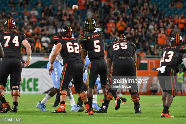 Kosi Perry of the Miami Hurricanes in action during the game against the North Carolina Tar Heels at Hard Rock Stadium on September 27 2018 in Miami...