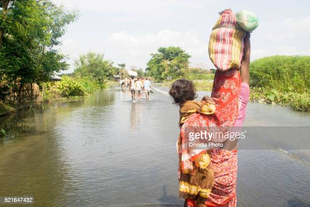 Kosi river flood in year 2008 which mostly made suffered below poverty line people in Purniya district, Bihar, India